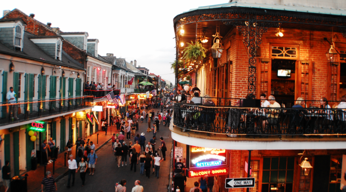 The music plays while people party on Bourbon Street